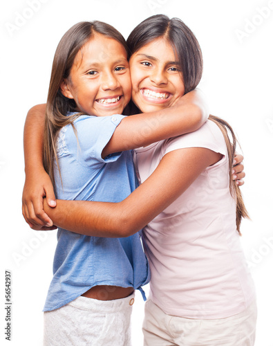 girls hugging eachother on a white background