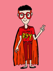 Young super hero boy cartoon