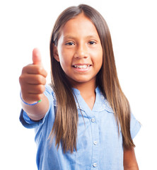 girl thumb up on a white background