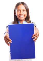 girl holding a blue notebook on a white background