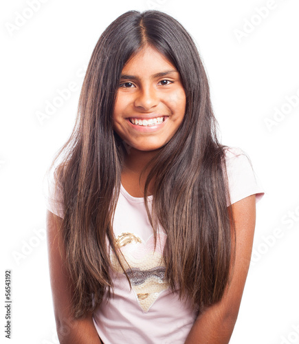 happy girl standing front on a white background
