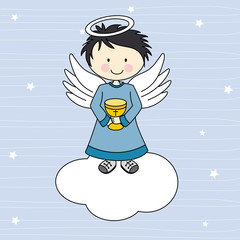Boy first communion.  Angel on a cloud
