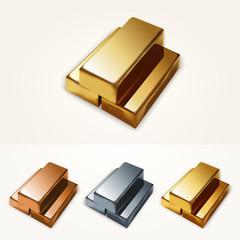 Vector illustration of gold bars