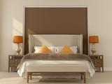 Fototapety Beige bedroom  with orange decor