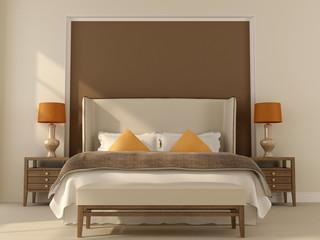 Beige bedroom  with orange decor