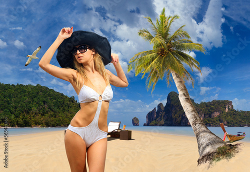 Woman on the beach on Ko Phi Phi island