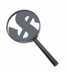 Lupa,lente ampliando símbolo de dinero,dólar.