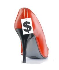 Calzado rojo de tacón en venta,Calzado femenino,vender.