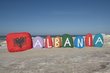 Albania, souvenir on colourful stones