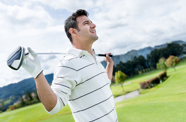 Golf player at the course