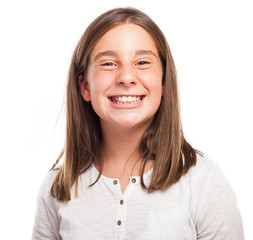 girl smiling gesture on a white background