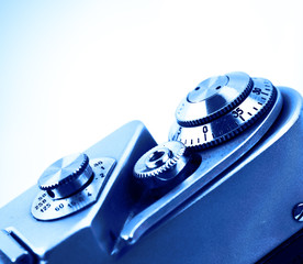Camera. Detail of the camera for the background. Isolated.