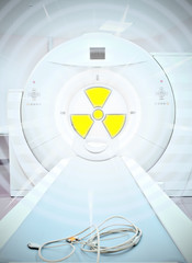 radiation in medicine. Sign of radioactivity in medical CT scann
