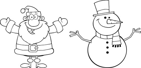 Black And White Happy Santa Claus And Snowman
