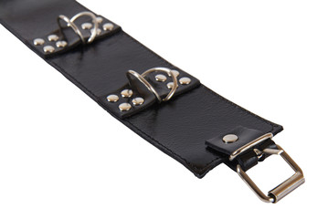 black leather collar with a rivets and a metal ring