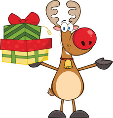 Happy Reindeer Holding Up A Stack Of Gifts