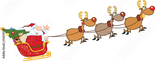 Santa Claus In Flight With His Reindeer And Sleigh