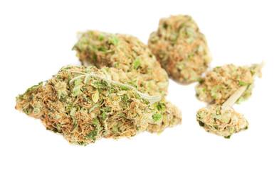 marijuana hearts isolated on a white background