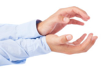 hands holding something on a white background