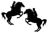 two horsemen detailed vector silhouettes - man and woman