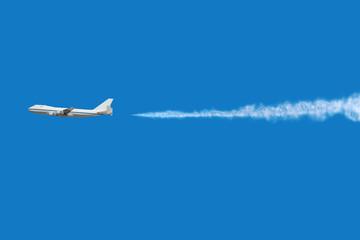 Airplane Flying Deep Blue Sky
