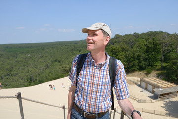 Tourist on the dune of Pilat, France