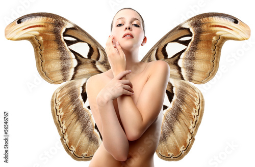 nude woman with butterfly wings, isolated on white background .