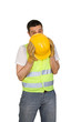 Shy construction worker isolated on white background.