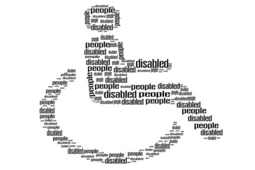 Handicapped in wheelchair word shape