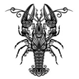 Vector Sea Lobster. Patterned design
