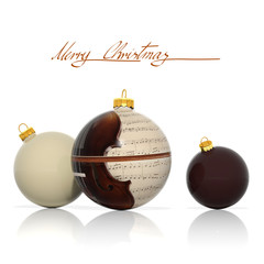 Three Christmas balls with musical elements
