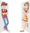 Cartoon young couple of students. Teenagers.