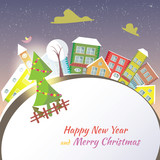 Happy New Year greeting card - snowy street.