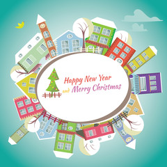 Happy New Year greeting card - Home background