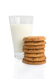 Chocolate chip cookies and a glass of milk isolated on white.