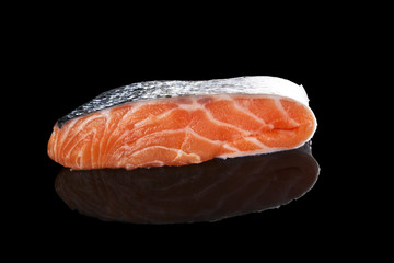 Raw salmon piece.