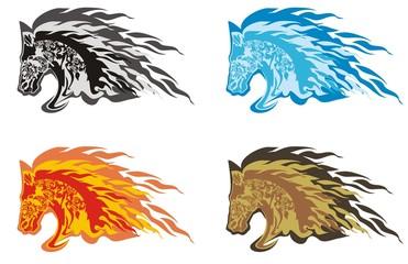 Flaming horse head