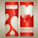 Vector banners with hearts