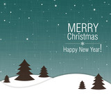 Merry Christmas and Happy New Year greeting card design
