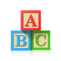 Wooden alphabet cubes with A,B,C letters