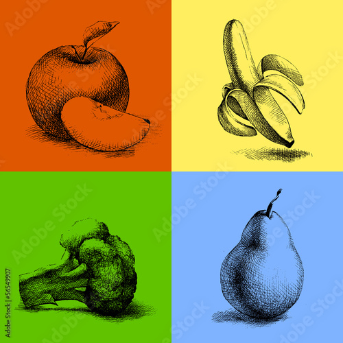 Sketch illustrations of fruits and vegetables