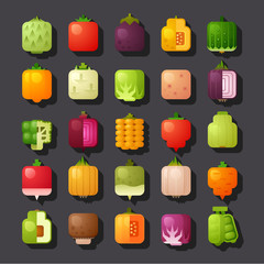 square shaped vegetables icon set