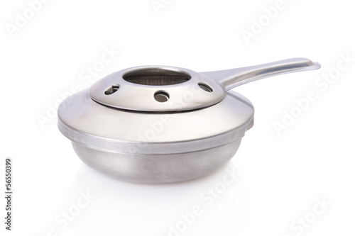 Alcohol burner from a fondue set isolated on white background