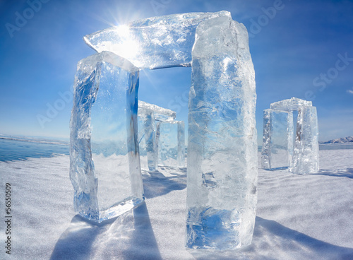 Leinwanddruck Bild Icehange - stonehenge made from ice