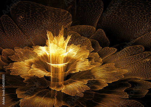 Golden futuristic flower - 56550551