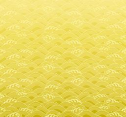 和波 広告 背景 金色
