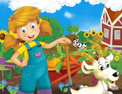 Fotobehang Boerderij On the farm - illustration for the children