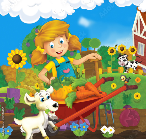 Foto op Canvas Boerderij On the farm - illustration for the children