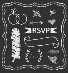 Chalkboard Wedding graphic set, arrows, hearts, laurel, feather,