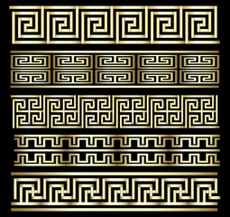 Seamless Gold Meander Patterns